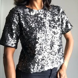 Tops - Sequin Short Sleeve Crop